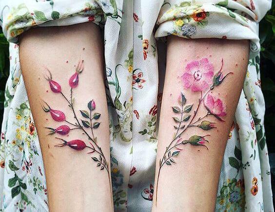 Цветные тату на руках