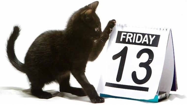 """Черный котенок трогает лапкой календарь с датой """"Пятница, 13"""""""