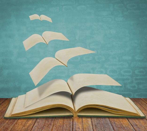 Вылетающие из открытой книги страницы