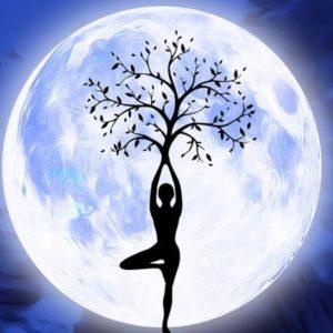 луна, девушка и дерево