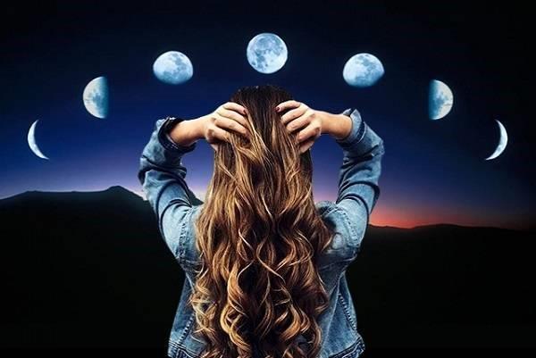 фазы луны и девушка